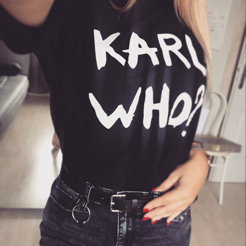 d43e0bfa8 European Fashion Summer Karl Women Men Tops Tumblr Ladies T-Shirt White  KARL WHO T Shirts Funny Tee Shirt Male Short Sleeve Tees