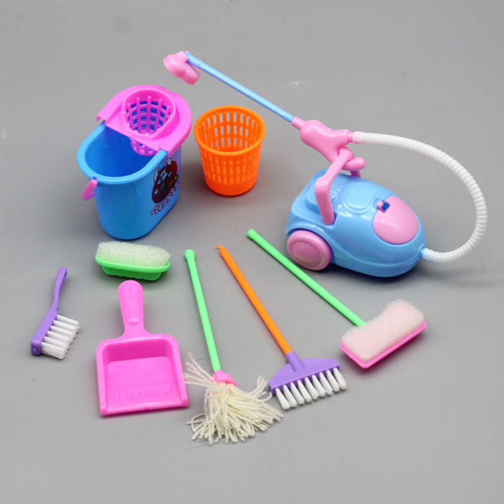 1Set 9Pcs Mini Pop Accessoires Household Cleaning Tools Voor Barbies Doll Accessoires Voor Barbies Dollhouse Kids Educatief Speelgoed