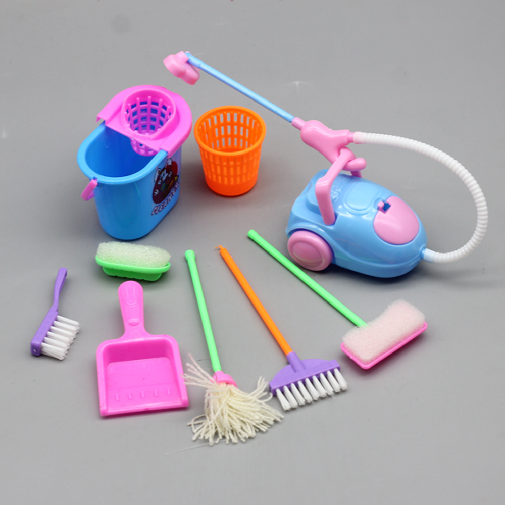 1SET 9pcs Mini Doll Accessories Household Cleaning Tools For Barbie Doll Accessories For Barbies Dollhouse Kids Educational Toy