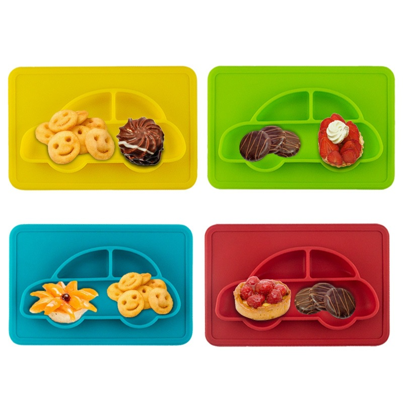 Cartoon Car Baby Feeding Table Placemat Food-grade Silicone Dining Mat Pad for Kids Toddler Sucker Dinner Food Plate Tray