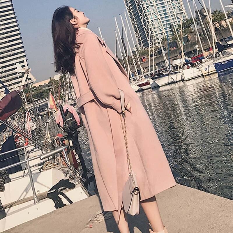 Autumn Winter Casual Women Woolen Coat 2019 New lantern Sleeve Turn down Collar Solid color Women