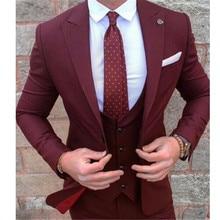 Custom Made Burgundy Costume Homme Terno Groom Tuxedos Groomsmen Mens Wedding Suits Slim Fit Men Suit ( Jacket+Pants+Vest)