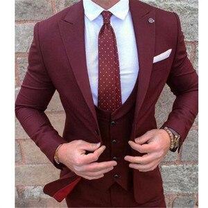 Image 1 - תפור לפי מידה בורגונדי תחפושת Homme Terno חתן טוקסידו השושבינים גברים חתונת חליפות Slim Fit גברים חליפה (מעיל + מכנסיים + אפוד)
