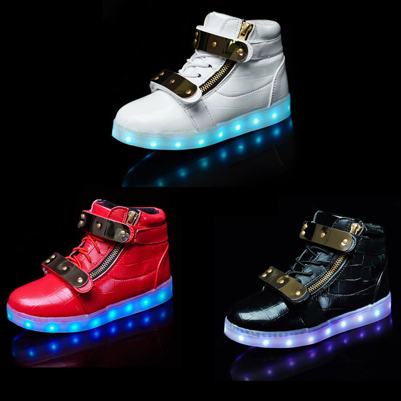 2017 New Brand Boys Girls USB Charger led Children's Casual Shoes With Lighted For Kids Sport Casual Sneakers glowing sneakers usb charging shoes lights up colorful led kids luminous sneakers glowing sneakers black led shoes for boys