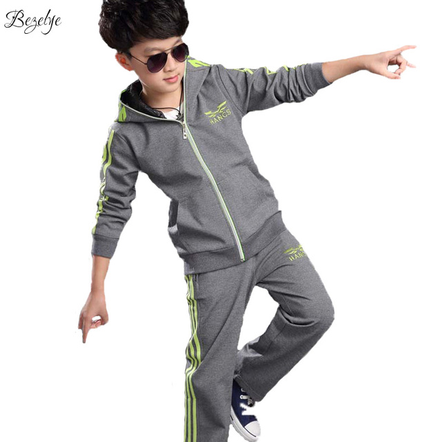 2017 Spring Long Sleeve Sports Suits Cotton Blended Clothing Set With Hoodie School Casual Boys Two Piece Outfits Clothes