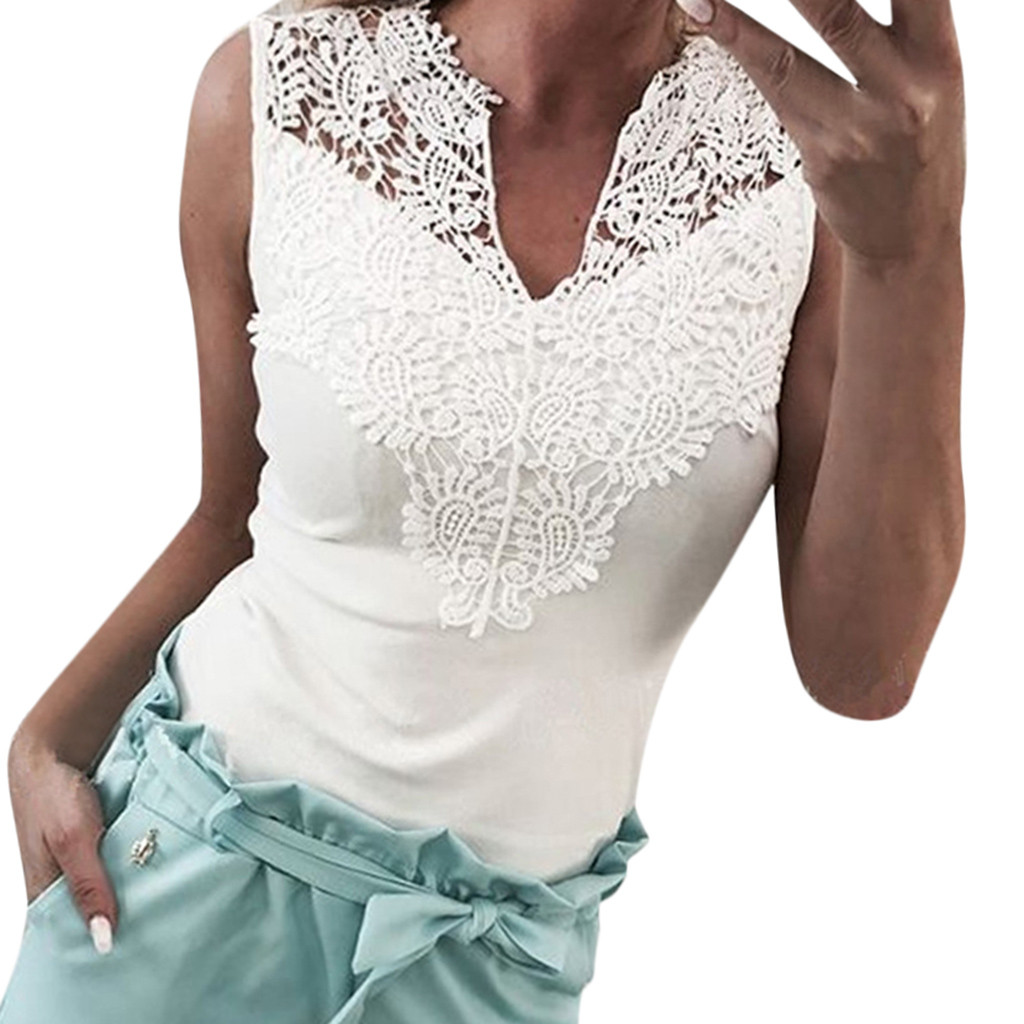 Actief Fashion Streetwear Shirt Vrouwen Solid Lace Mouwloze Patchwork V-hals Shirt Tank Vest Koszulka Damska6.34gg Chinese Smaken Bezitten