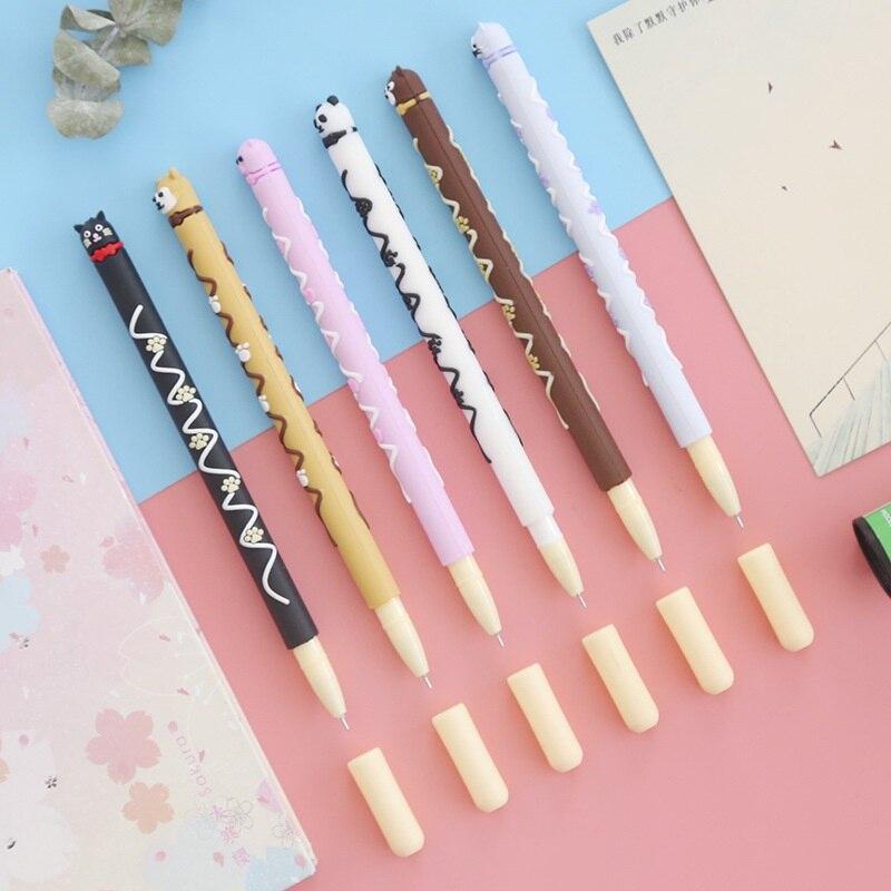 6 pièces mignon animal ours chien chat chocolat bâton gel stylo 0.5mm stylo à bille couleur noire stylos papeterie bureau fournitures scolaires A6757