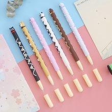 Stylo à bille de couleur noire, 6 pièces, mignon Animal ours chien chat chocolat bâton stylo à Gel 0.5mm, papeterie fournitures scolaires de bureau A6757