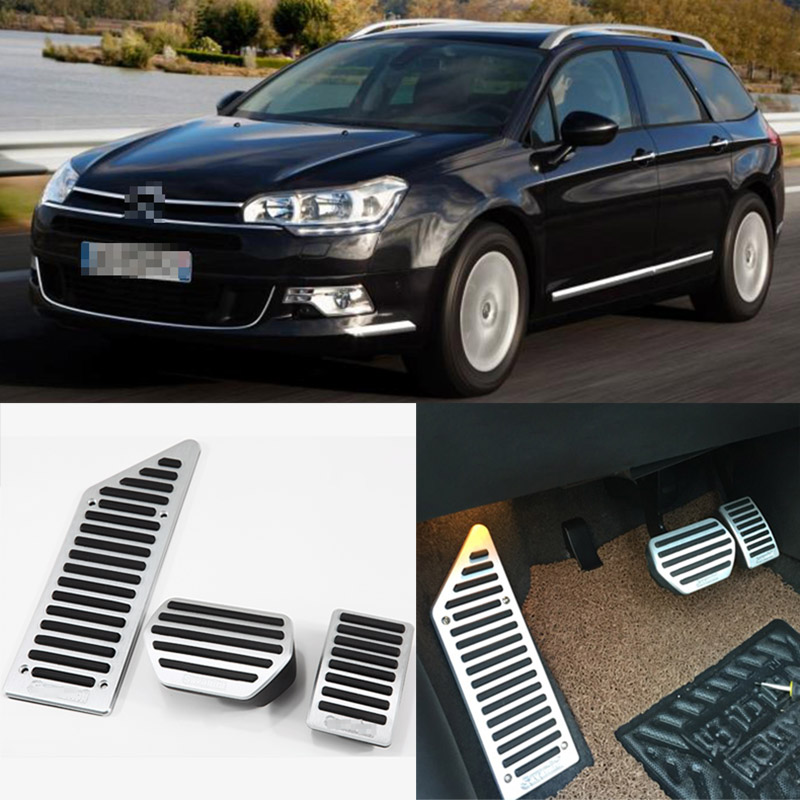 Brand New 3pcs Aluminium Non Slip Foot Rest Fuel Gas Brake Pedal Cover For Citroen C5 AT 2012-2016 brand new 3pcs aluminium non slip foot rest fuel gas brake pedal cover for peugeot 508 at 2011 2016