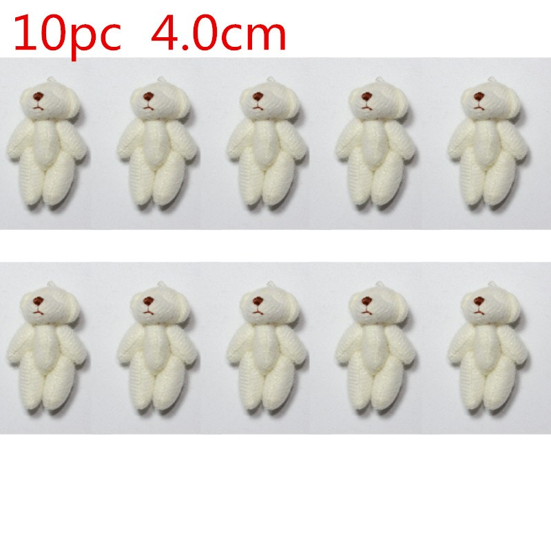 10pc 5colors 4.0cm  Mini Joint Teddy Bear Plush Stuffed   Wedding BOX Toy Doll  Garment & Hair Accessories Decor Doll
