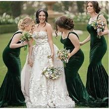 dd483889f36 2019 Green Velvet Mermaid Bridesmaid Dresses Spaghetti Sweep Train Garden  Country Western Wedding Guest Gowns Maid