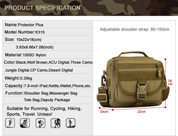 плюс протектор тактика военная униформа клапаном сумка пакет молл малый карманы человек высокое качество нейлон кроссбоди мешок для мужчин сумка
