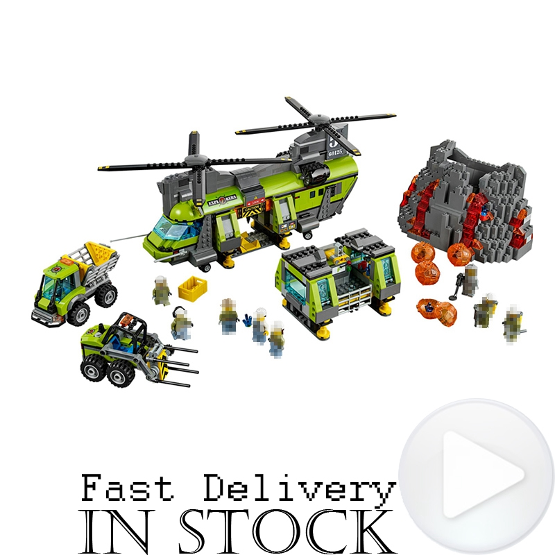 LEPIN City 02087 1430PCS Volcano Heavy-lift Helicopter Building Blocks Brick enlighten toy for children Compatible with 60125 цена