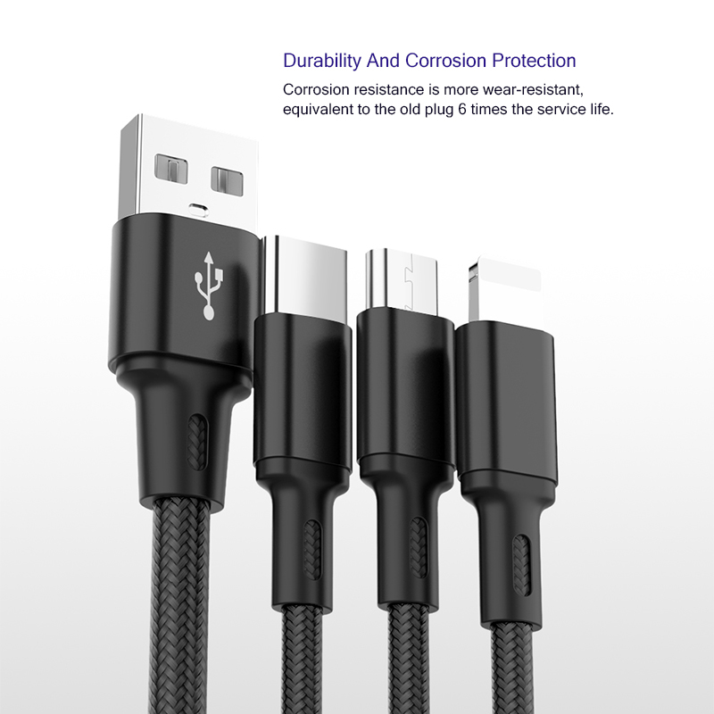 Image 4 - USB Cable Charging Charger 3 in 1 Micro USB Cable   For Samsung S9  For iPhone XS X 8 7 6 For Android USB TypeC Charger Cord-in Data Cables from Consumer Electronics