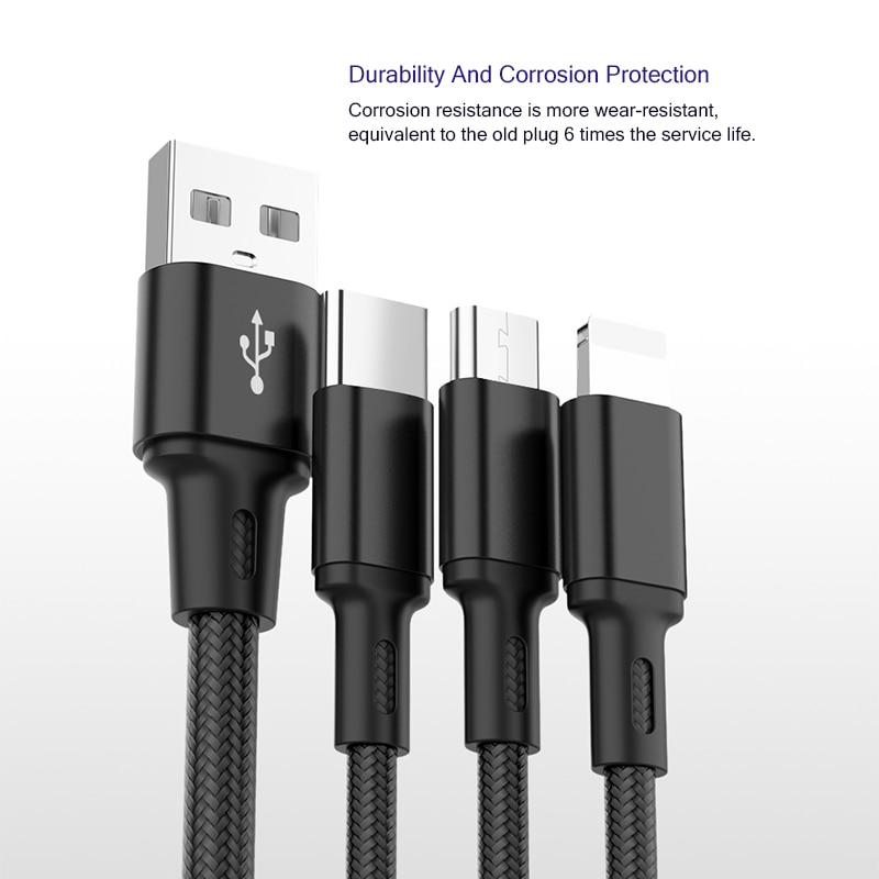 Image 4 - Usb кабель зарядное устройство 3 в 1 Micro USB кабель для samsung S9 для iPhone XS X 8 7 6 для Android USB TypeC зарядное устройство Шнур-in Кабель для MP3-/MP4-плееров from Бытовая электроника