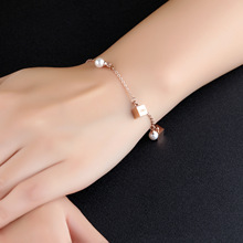 Square Love Letter Charm Bracelets Freshwater Pearls For Women Rose Gold Chain Link Bracelet Femme Stainless Steel Jewelry