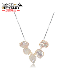 YANCEY 2017 New Natural Baroque freshwater pearls Fine jewelry Necklaces S925 Silver Necklaces pendants