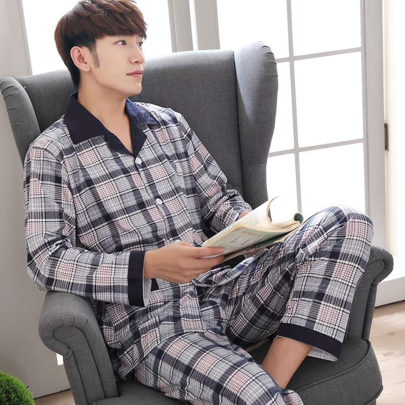 Yuzhenli Autumn Pyjamas Men Print Casual Plus Size Cotton Sleepwear Mens Lounge Wear Loungewear Winter Pajamas Plus XXXL