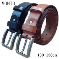 High quality 100% leather mens belts luxury 150cm extension belt Men's leather needle buckles pure cowhide man's belt contracted