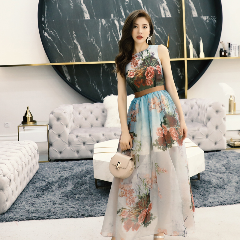 Femmes d'été floral longue robe sans manches haute fente sexy robes nouveau 2019 marque cheville longueur organza