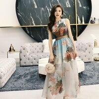 Women summer floral long dress sleeveless high slit sexy dresses new 2019 brand ankle length organza
