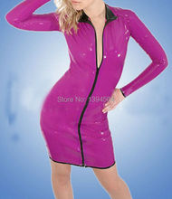 2016 new Sexo rose red pink front zipper Latex Catsuit Women Mini Dress Long Sleeves Fetish Sexy Uniform Party Charming Zentai