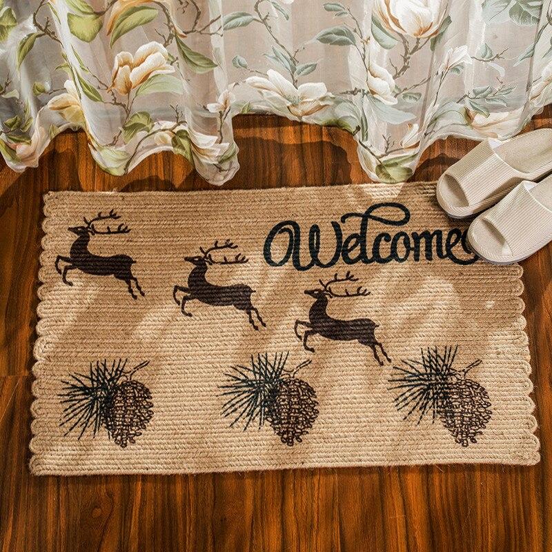 Style nordique tapis de porte en Jute naturel Anti-saut résistant à la saleté cuisine balcon tapis de sol Hallyway bienvenue tapis de sol 50*80 cm