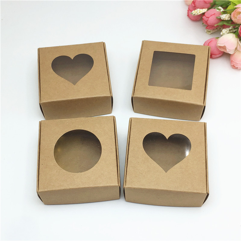 Image 2 - Wholesale 50pcs Kraft Paper Box Transparent PVC Window Soap Boxes Jewelry Gift Packaging Box Wedding Favors Candy BoxGift Bags & Wrapping Supplies   -
