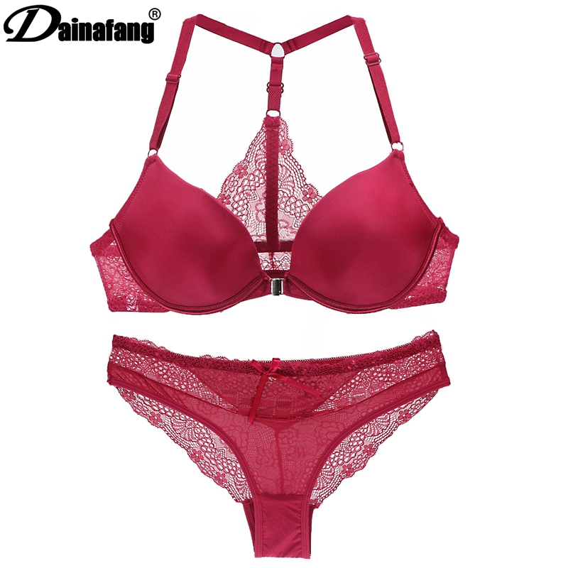 DAINAFANG Bra Sexy Halter Deep V Push Up Bra Solid Smooth Bow Decorative Women Underwear 3/4 Cup Thick Cotton Bralette