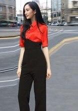 2016 Summer European thin Orange Black Slim pants Siamese temperament stitching jumpsuit