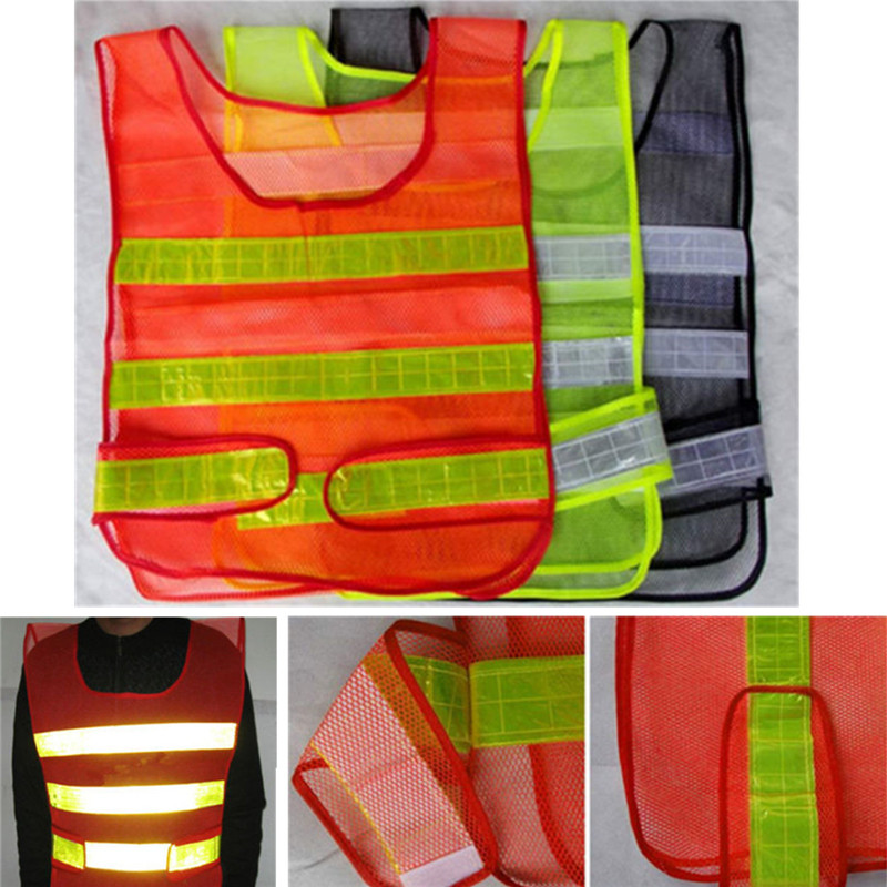 Visibility Security Safety Mesh Vest Traffic Reflective Stripes Waistcoat Jacket Brand New Red Green Black good sale reflective safety vest 2 strips waistcoat for construction traffic warehouse green