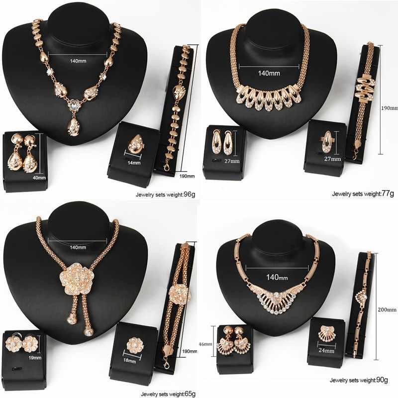 LNRRABC 4 stück Mode Frauen schmuck sets Kristall Braut Halskette Ohrringe für damen Partei schmuck sets männer schmuck maquiagem
