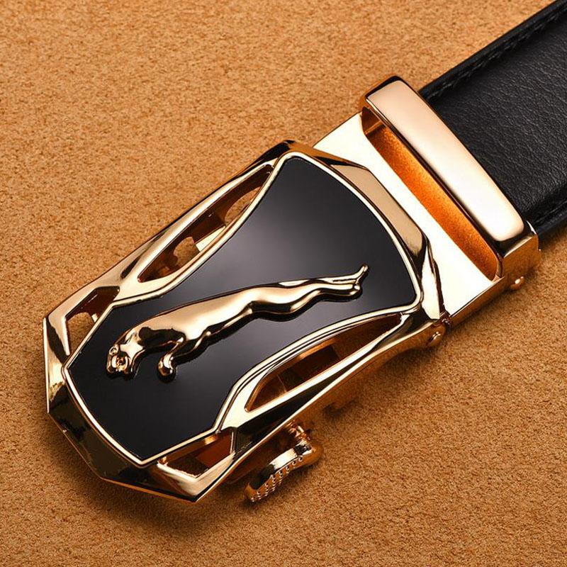 [HU&GH] Brand Belt Men 100% Good Quality Cowskin Genuine Luxury Leather Men's Belts for Men Strap Male Metal Automatic Buckle