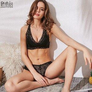 Image 2 - Franse Sexy Kant Ultra dunne Bralette Terug Soort X Bandjes Comfortabele vrouwen Ondergoed Elasticiteit Driehoek Cup Push Up bh Set