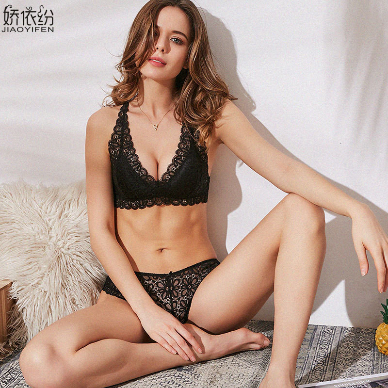 Image 2 - French Sexy Lace Ultra thin Bralette Back Type X Straps Comfortable Women's Underwear Elasticity Triangle Cup Push Up Bra Set-in Bra & Brief Sets from Underwear & Sleepwears