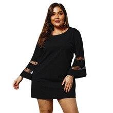 2019 Spring Plus Size Mesh Dress Women Flare Sleeve Fat Dress Women Big Size Dress Ladies Lace Mini Short Party Dress For Women plus size short sleeve lace shift dress