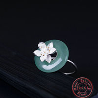 Amxiu 925 Sterling Silver Natural Crystal Ring Adjustable Open Ring Lotus Flower Rings for Women Lover Bijoux Valentine's Gift