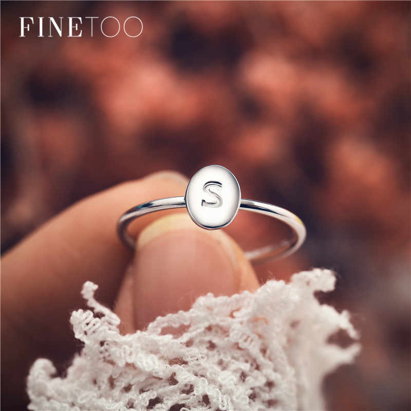 2800d588b4 Silver Gold Color Stackable Tiny Oval A-Z Initial Rings for Women  Personalized Engraved Letter Ring for