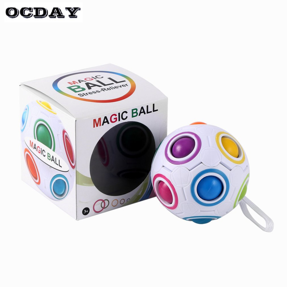 OCDAY Creative Magic Rainbow Ball Cube Speed Puzzle Ball Kids Educational Learning Funny Toys For Children Adult Stress Reliever