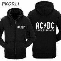 Pkorli Rocksir AC DC Hoodie Men Hip Hop Rock Band ACDC Back In Black Sweatshirt Male