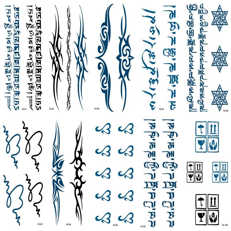 10 Tattoo Sleeve Women Men Arm Shoulder Fake Tattoo Waterproof Temporary Tattoo Tibetan Buddhist Sanskrit Pattern Letter Tatoo