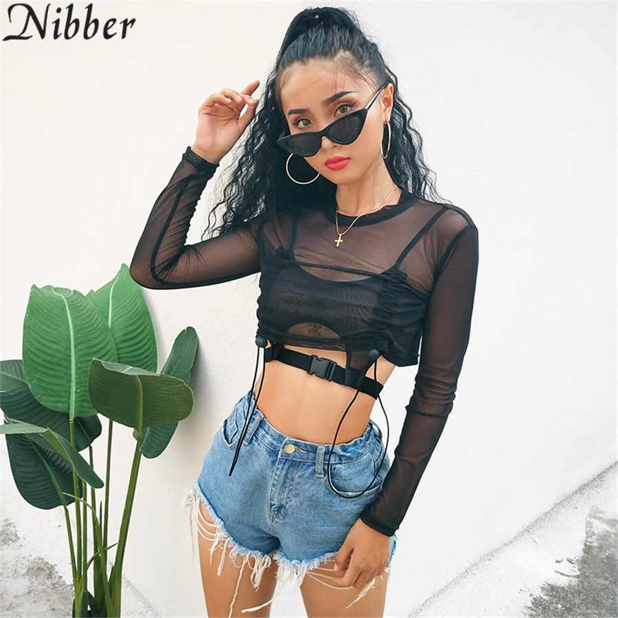 Nibber Летняя женская футболка с длинными рукавами модная перспективная футболка 2018 Новая черная сексуальная открытая прозрачная рубашка с круглым вырезом