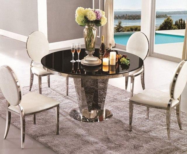 Mesa de comedor redonda mesa de comedor cristal muebles de comedor ...