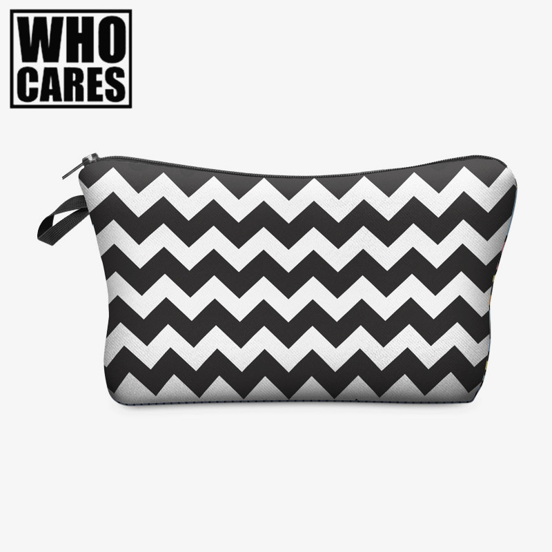 Zig zag 3D Printing cosmetic bag who cares 2016 Fashion women makeup bag Pencil bags neceser