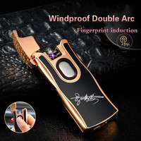 USB Charger Double Fire Lighter Metal Clap Arc Pulse Electronic Cigarette Lighter Windproof Double Arc Cigarette Lighter