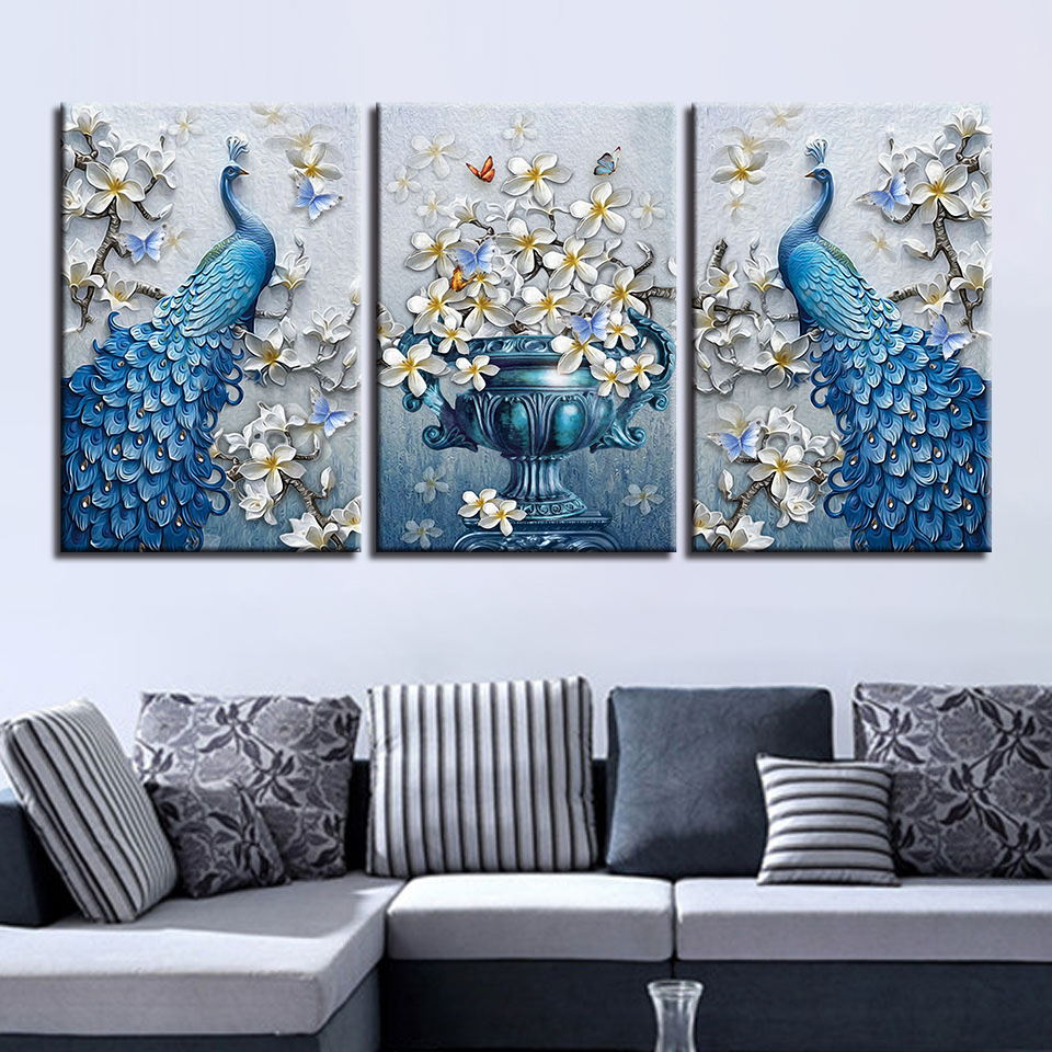 Canvas Painting Living Room Decor 3 Pieces Blue Peacock