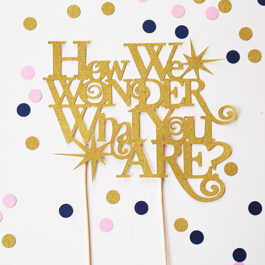 Gender reveal cake topper,glitter party supplies,baby shower decorations, How we wonder what you are image