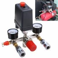1pc 90 120PSI Air Compressor Pressure Switch Valve Manifold Regulator Gauges 240V 20A