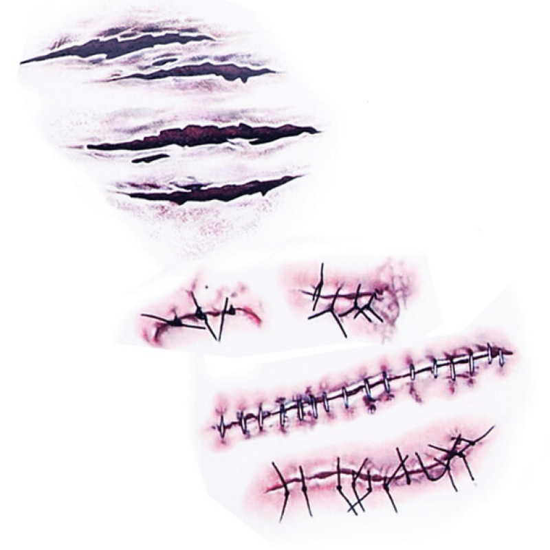 10pcs Blood Wounds Scars Waterproof Tattoo Sticker Halloween Party Decoration Masquerade Props Bar Hen Party Decor S1 2