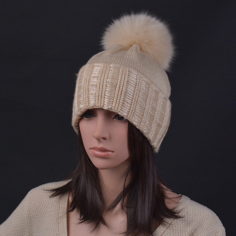 100% Raccoon Fur Autumn and Winter 15cm Ball Knitting Wool Cap Keep Warm Pointy Hat Woman Fashion Skullies & Beanies